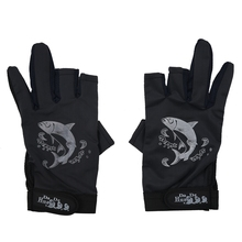 SODIAL(R) 2 Pcs Rubber Dots Nonslip Palm Two Finger Fishing Gloves Black