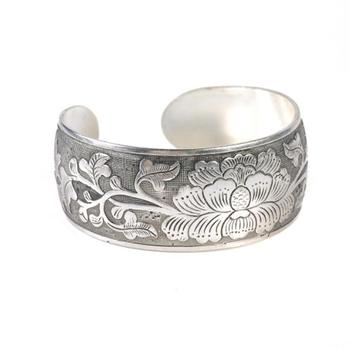New Ethnic Vintage Silver Alloy Peony Flower Carved Fashion Retro For Women Bangle Bangle Antique Bracelet Wide Jewelry Lad R2J7