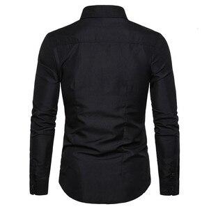 Image 2 - Bello Nero Camicette Uomini Musulmano Camicia di Modo Musulman Blousees Sottile A Maniche Lunghe Cardigan Camicia di Vestito Marocchino Vestiti Islamici
