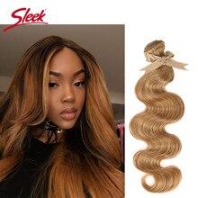Vison elegante loira colorida 27and 613 brasileiro onda do corpo remy cabelo tecer pacotes 10 a 26 polegadas extensão do cabelo frete grátis