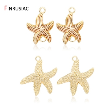 Jewelry Making Supplies 2020 New 14K Real Gold Plated Starfish Charms Pendants DIY Bracelets Necklaces Earrings Accessories 2020 new designer flower charm plated gold rose pendant diy earrings charms making necklace accessories