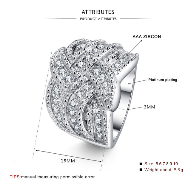 2019 New Bling CZ Zircon Stone S925 Sterling Silver Color Band Rings for Women Wedding Engagement Fashion Luxury Jewelry 4