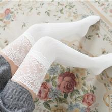 Lace High Over Knee Stockings Non-Slip  Japanese Style Autumn Cotton Vertical Stripes Women