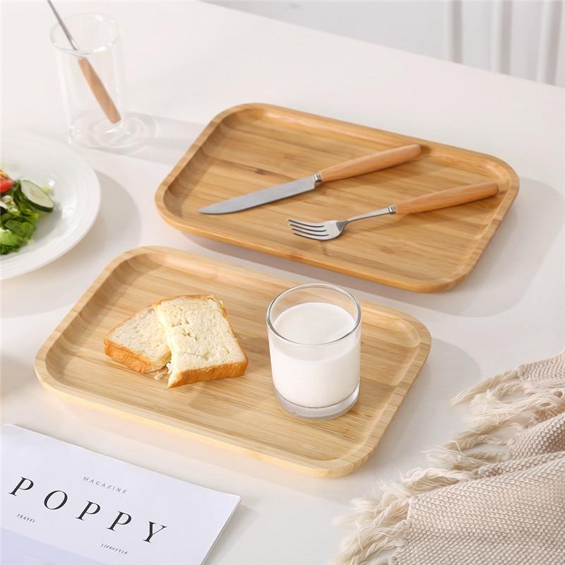 Image 3 - Oneisall bambou plateau à thé tasse assiette alimentaire Dessert  plateau de service traditionnel bambou plateau à thé élégant Style  chinois Table à théThé Plateaux