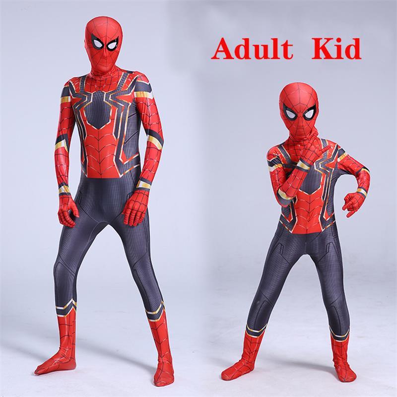 Spiderman Costume Red Cosplay Superhero Jumpsuit Christmas Party Supplies Halloween Costume Kids Adult New