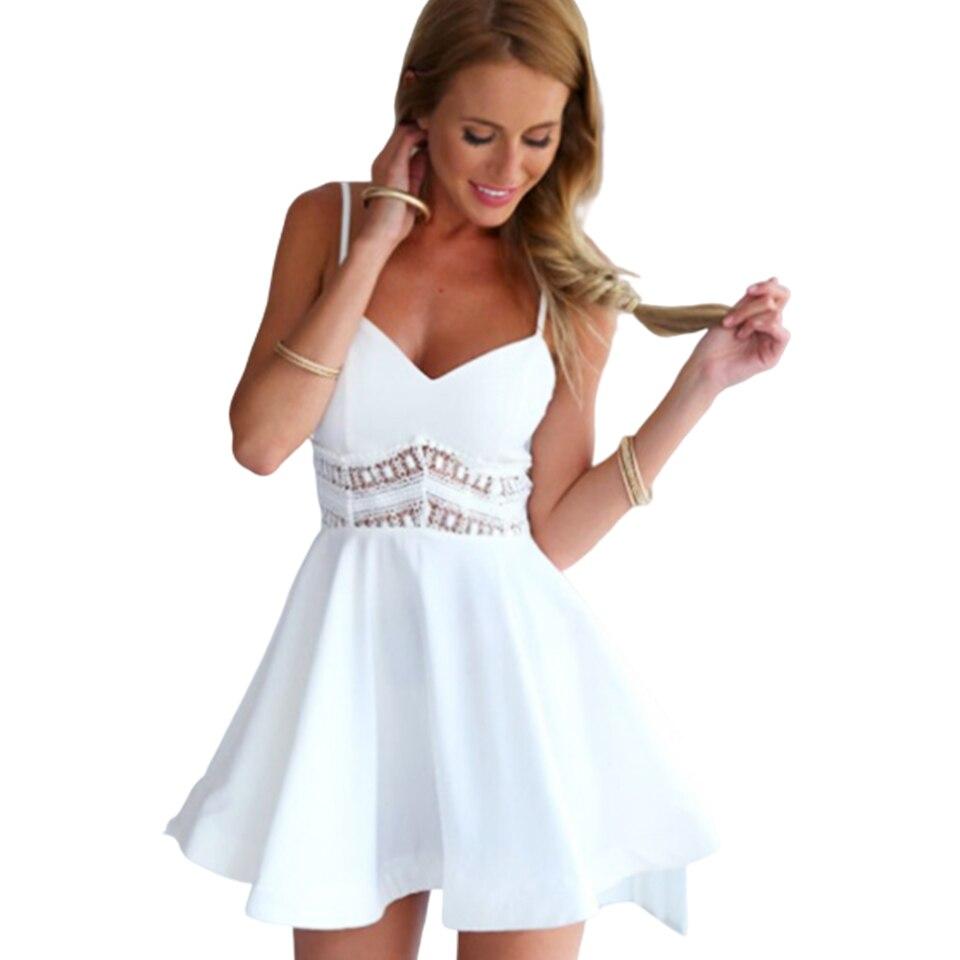 Sexy coupe basse robe Spaghetti sangle Mini robe courte élégante dentelle noir creux femmes Patchwork grande balançoire robe Vintage mignon blanc
