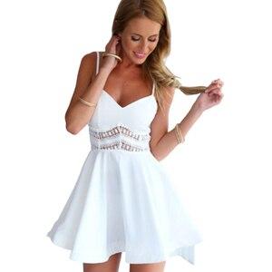Sexy Low Cut Dress Spaghetti Strap Mini Short Dress Elegant Lace Black Hollow Women Patchwork Big Swing Vintage Dress Cute White(China)