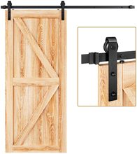 HACCER 4-9.6FT Single Sliding Barn Door Hardware Wood Door Hardware Kit Black J-Shaped Top Mounted Hangers System
