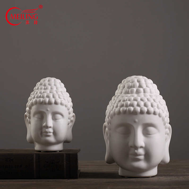 White Matte Ceramic Buddha Head