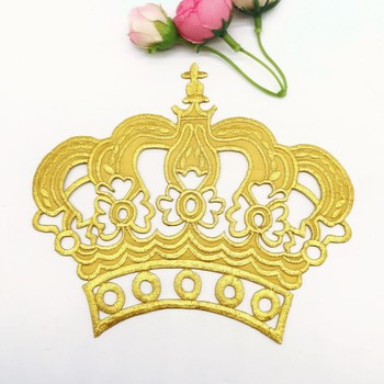 Iron On Patches Gold Royal Crown Budges Flower Embroidered Patches Diy Garment Appliques Costume Cosplay 15.5*14cm image