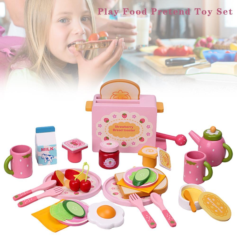 32 pièces/ensemble cuisine semblant jouets ensembles Simulation en bois Mini nourriture grille-pain pain lait petit déjeuner couverts moule jouet pour enfants enfants