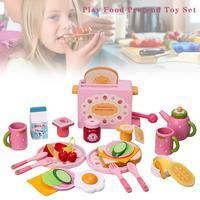 32pcs/set Kitchen Pretend Toy Sets Simulation Wooden Mini Food Toaster Bread Milk Breakfast Cutlery Mold Toy for Children Kids
