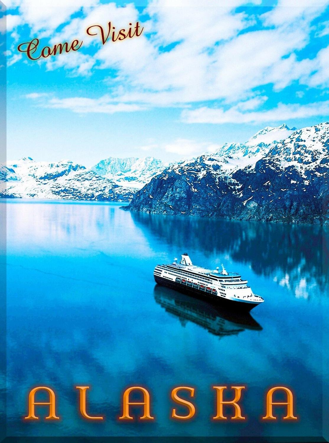 Come Visit Alaska Cruise United States Travel Advertisement Wall Sticker Silk Poster Art Light Canvas Home Decoration image
