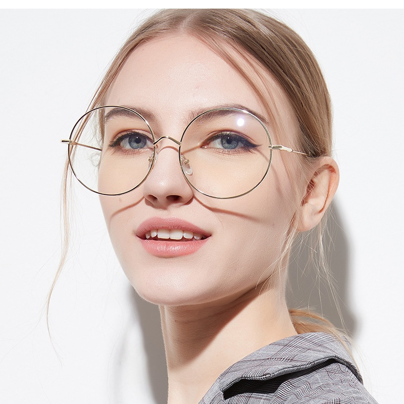 2020 Oversized Clear Round Glasses Silver Metal Frame Vintage Big Circle Glasses Brand Designer Huge Big Nerd Eyeglasses Women