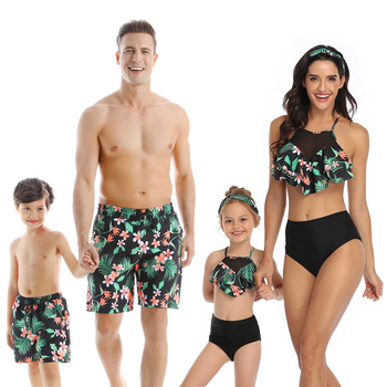 2020 Summer Family Swimsuit Mommy and Me Clothes Mom Father Son Mother and Daughter Bikini Beach Shorts Couple Matching Swimwear