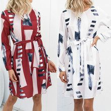 Euro-American Autumn New Middle-waisted Long Sleeve Geometric Printed Dresses With Belt