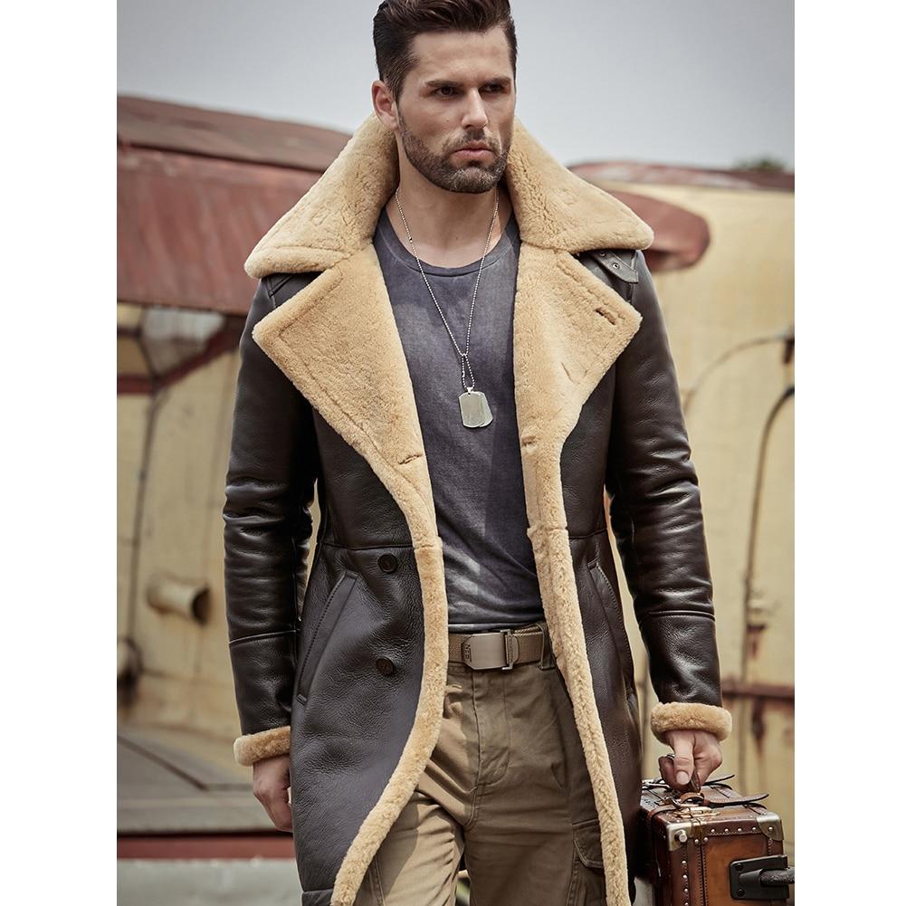 Men/'s Brown Faux Fur Shearling Long Brown Sheepskin Leather Jacket