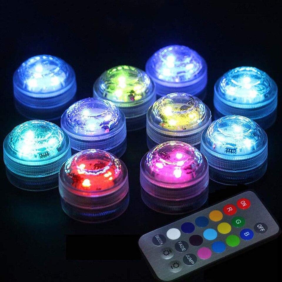 Погружной светодиодный светильник с аккумулятором, водонепроницаемая подводная ночная лампа с дистанционным управлением, освещение для у...