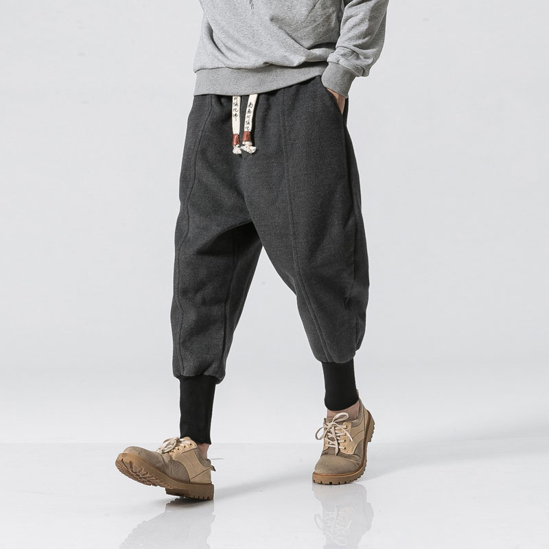Men Autumn Winter Woolen Loose Thick Warm Casual Pant Male Streetwear Hip Hop Harem Trousers Joggers Sweatpants
