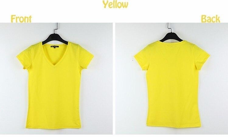 High Quality V-Neck 15 Candy Color Cotton Basic T-shirt Women Plain Simple T Shirt For Women Short Sleeve Female Tops 077 16