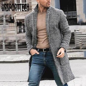 2019 New Autumn and Winter Woolen Coat Men Leisure Long Coats Mens Casual Fashion Plaid Jacket Overcoat