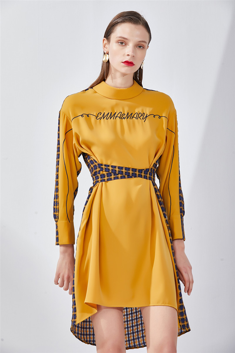 women bandage long sleeve dress winter midi clothes casual yellow plaid clothing 2019 fall fashion women new arrivals dresses in Dresses from Women 39 s Clothing