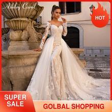 Ashley Carol Sexy Sweetheart suknia ślubna z długim rękawem syrenka 2020 odpinany pociąg 2 w 1 koronkowe suknie ślubne Vestido De Noiva