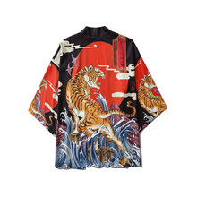 Animal Horror Tiger Samurai Kimono Harajuku 2020 Summer Japanese Fashion Cosplay Shirt Anime Yukata Fashion Women/men Costume