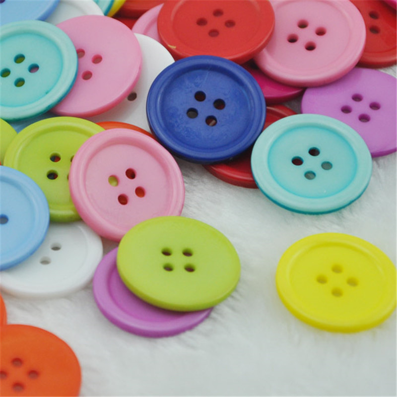 50pcs <font><b>30mm</b></font> Mix Color Overcoat Plastic <font><b>Button</b></font> 4 holes Craft Sewing PT127 image