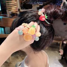 Cute kawaii Fruit Hair Rope Summer Small Fresh Watermelon Strawberry Ring Sweet Girl Ball New Arrive Hot Sale Free Shi
