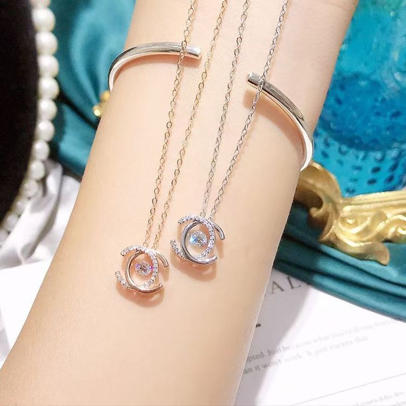 925 Sterling Silver Women's Necklace Trend Korean Necklace Hanging Earrings Women's Boutique Jewelry Beautiful Accessories