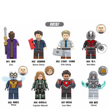 X0197 Super Heroes Building Blocks Marvel Antman Wasp Iron Man Baron Zemo Erik Selvig Ghost Figures Action Toys For Children DIY