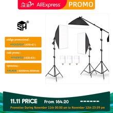 Kit de iluminación profesional para estudio de fotografía, Softbox Arm para vídeo y YouTube, iluminación continua
