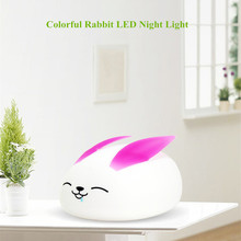 все цены на Cartoon Rabbit LED Night Light Touch Sensor Colorful Silicone Bunny Table Lamp Bedroom Bedside Lamp for Children Kids Baby Gift