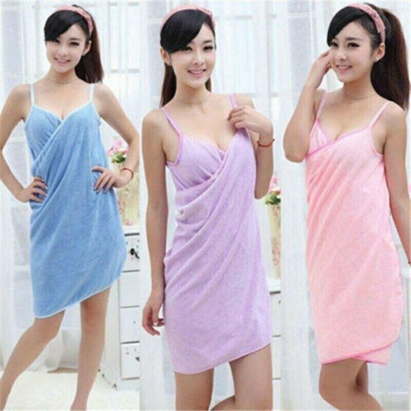 NEW Lady Bath Towel Wearable Fast Drying Beach Women Spa Bathrobe Skirt Fashion