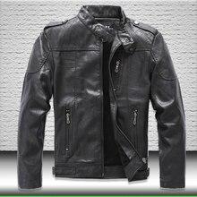 Jacket Faux-Leather Coat Outwear Motorcycle Autumn Winter Mens Zipper Fleece