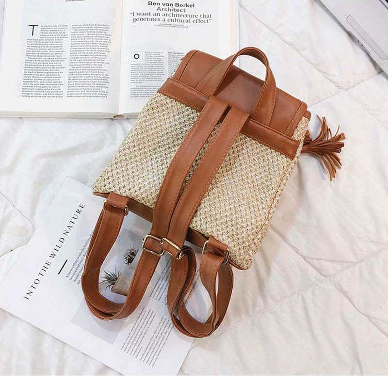 3PCS LOT Fashion Straw Woven Backpack for Women Summer New Drawstring Tassel Knitting Backpack Girls Travel Daypack Mochilas in Backpacks from Luggage Bags