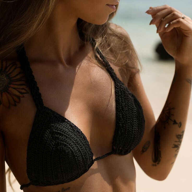 Hot Sexy 2019 Bikini Vrouwen Halter Push Up Haak Bralette Knit bra bralette Boho Strand Geweven Bikini Cami Crop Top badmode