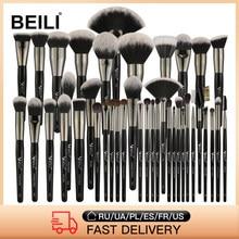 BEILI 40/35/15 sztuk luksusowy czarny profesjonalny zestaw pędzli do makijażu duże pędzle Powder Foundation mieszanie kozy układanie włosów szczotki