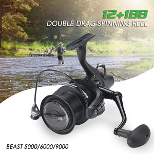 Image 3 - 12+1 Double Drag Carp Fishing Reel Spinning Reel with Front and Rear Left Right Interchangeable Wheels for Saltwater Freshwater