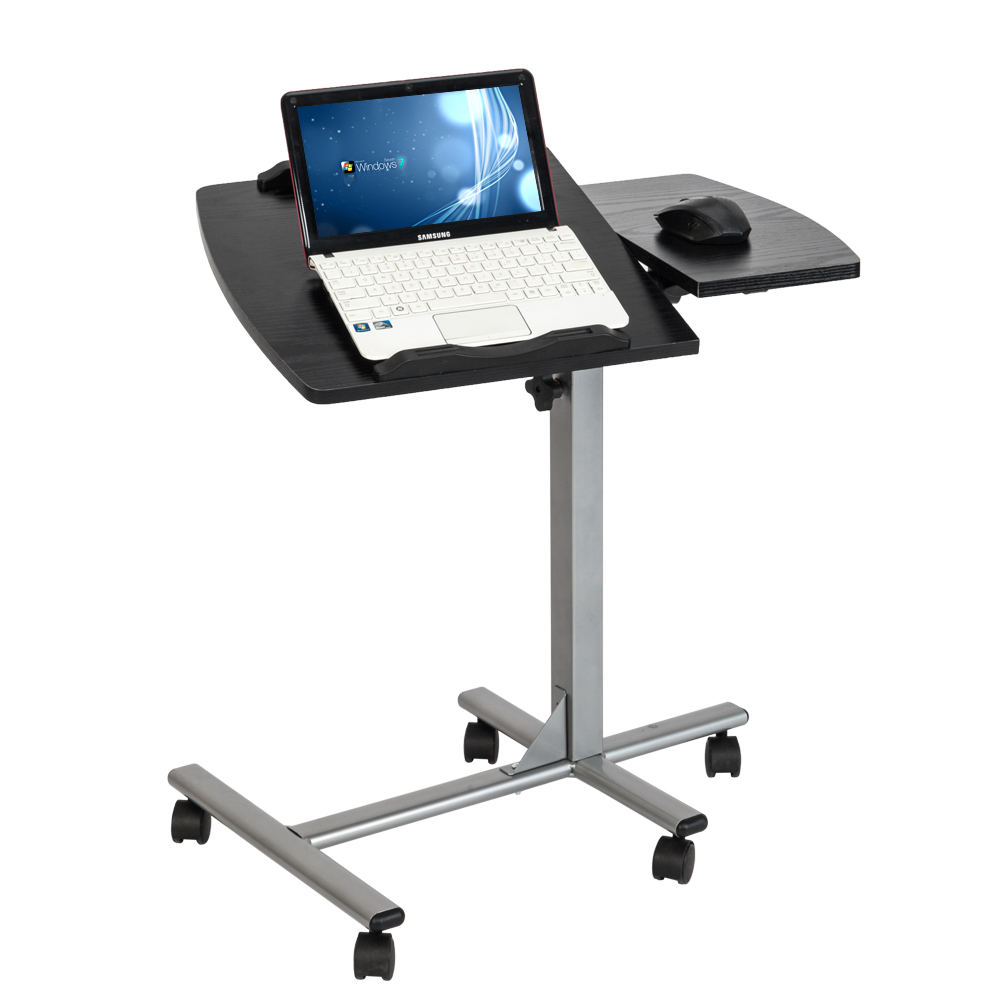 【US Warehouse】Five-Wheel Home Use Multifunctional Lifting Removable Computer Desk Black & Silver (Computer Desk Table)