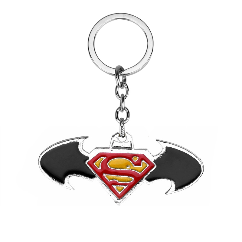 Movie Batman Keychain Metal Bat Pendant Cosplay Keyrings Car Accessories Gifts image