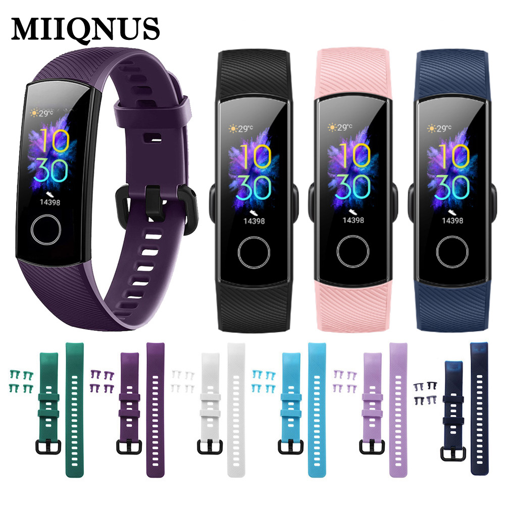 MIIQNUS 2019 New Coming Silicone Watch Band Replacement Bracelet Strap For Huawei Honor Band 5 4 Wristbands Sports Colorful Band