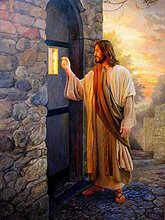 5D Diamond Painting Kits Jesus coming knock at door Full Drill DIY Art Cross Stitch Paint (2pcs) 20x25cm and 40x50cm
