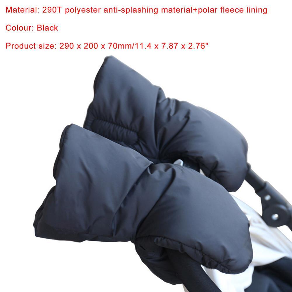 Winter Windproof Warm Gloves Fleece Mittens Hand Muff for Baby Stroller Black