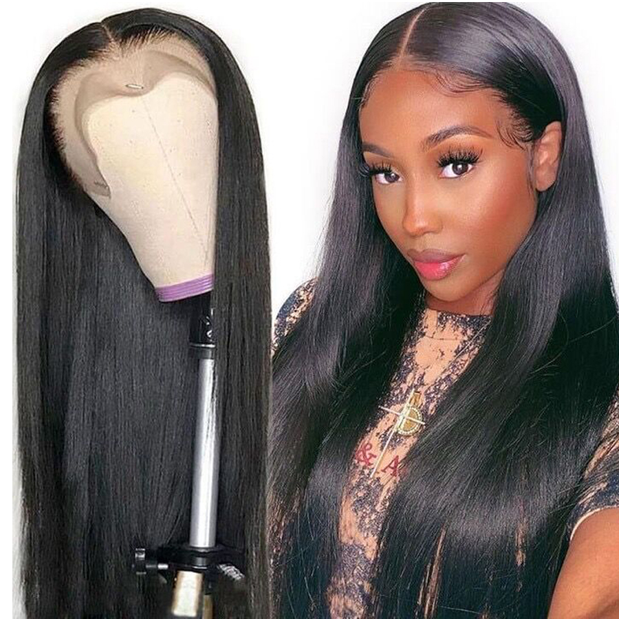 Pre Plucked Transparent Lace Wigs 150 Density 13x6 Lace Front Wigs Brazilian Straight Human Hair Wigs Bleached Knots Wigs Full