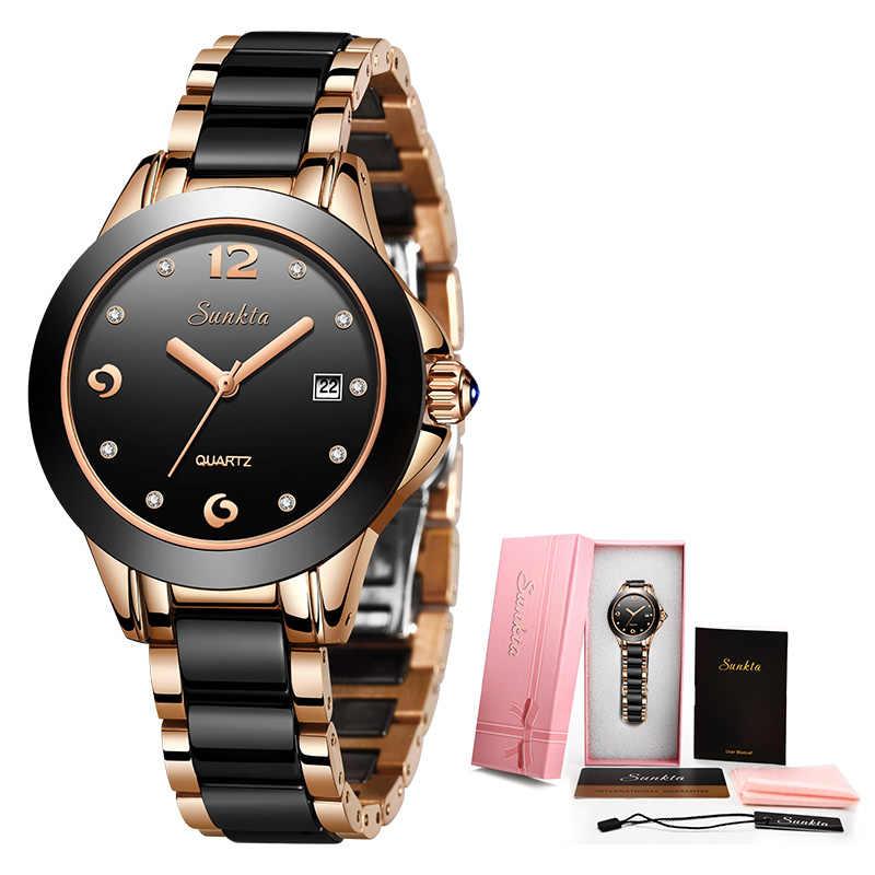 SUNKTA נשים שעוני יוקרה מותג שעון צמיד עמיד למים יהלומי גבירותיי יד שעונים לנשים קוורץ שעון Relogio Feminino