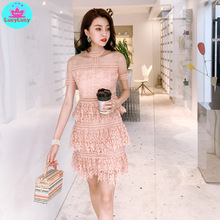 2019 summer new lace cake  stitching perspective collar waist slim openwork dress Knee-Length Lace