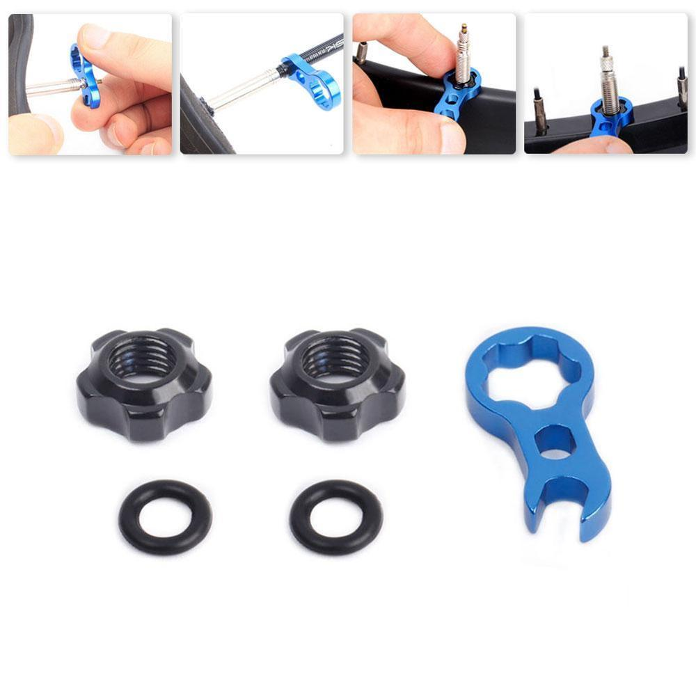 Bicycle Presta Valve Nut With Tool Set Road Bike MTB Valve Fixed Nut Washer France Tire Waterproof Protection Accessories