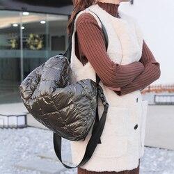 Mujeres de algodón pluma abajo bolso de moda bandolera bolso espacio almohadilla invierno suave espacio bolsa de hombro de algodón
